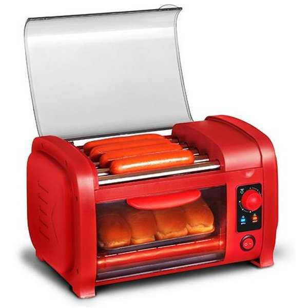 Elite EHD-051R Cuisine Hot Dog Roller & Toaster Oven - Red