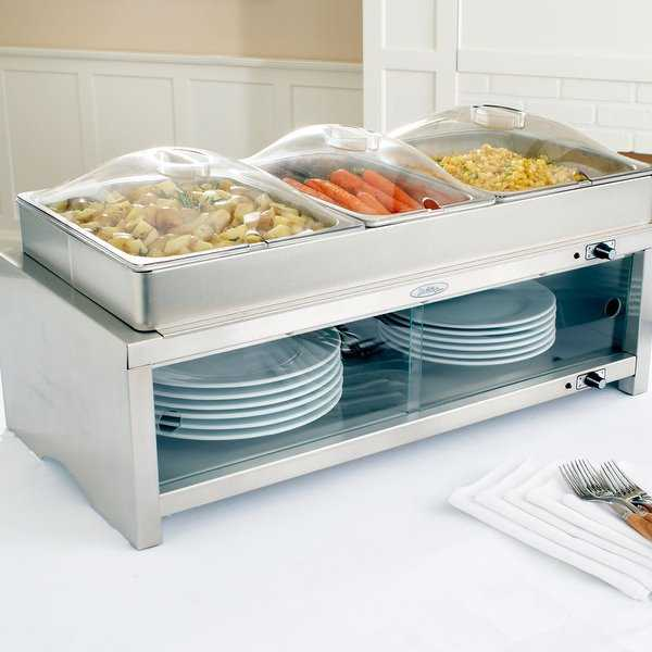 BroilKing MLB-CSLP Professional Warming Cabinet w/ Family Size Buffet Server - 2 1/2 size pans and 1 1/3 size pans & 3 lids