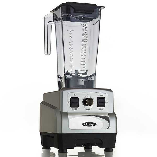 Omega OM6560S 3 Peak HP Blender with 64oz Container, Silver & Black