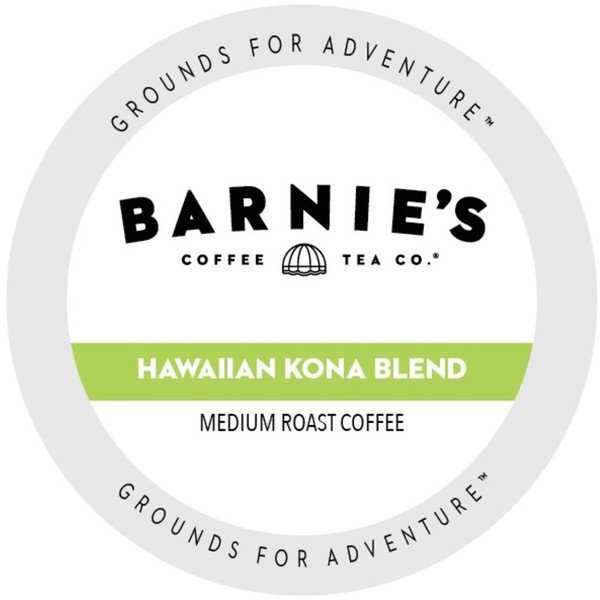 Barnie's Coffee Kitchen Hawaiian Kona Blend Dark Roast Sweet and Bright Single Serve Coffee Cups for Keurig Brewers 88 Count