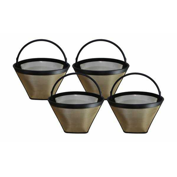 4pk Replacement #4 Gold Tone Coffee Filters Fits Cuisinart, Braun, GE, Jerdon, Krups, Melitta & More, Washable & Reusable