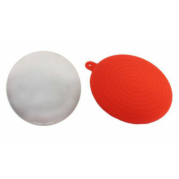 Replacement Stainless Steel Filter & Red Travel Silicone Lid Kit, Fits Aerobie AeroPress, Washable & Reusable